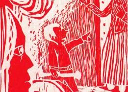 Holzschnitt: Der kleine Joseph wehrt sich mit dem Schürhaken