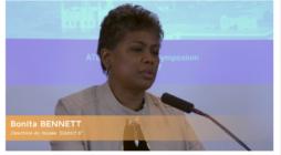 Bonita Bennett directrice van het Museum District Six in Kaapstad, Zuid-Afrika, sprak op Wresinski-symposium van 2017